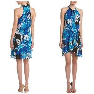 Parker Blue Floral Diane Ruffle Halter Dress